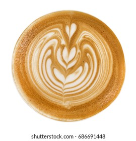 Top view of hot coffee cappuccino latte art foam isolated on white background, clipping path included