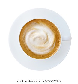 Top view of hot coffee latte cappucino cup with saucer isolated on white background, clipping path included.