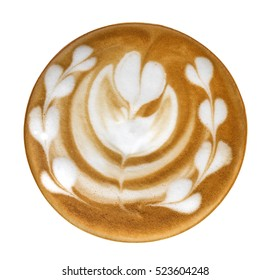 Top view of hot coffee latte art heart shape foam isolated on white background