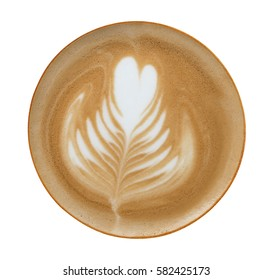 Top view of hot coffee latte art isolated on white background, clipping path included