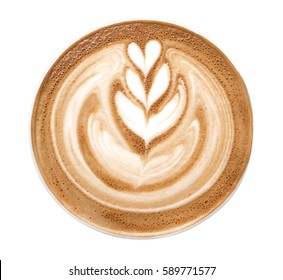 Top view of hot coffee latte art foam isolated on white background, clipping path included