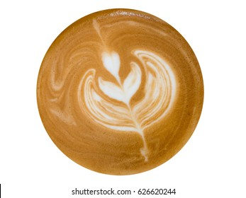 Top view of hot coffee latte art isolated on white background, This has clipping path.