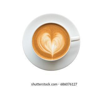 Top view of hot coffee latte art foam isolated on white background, clipping path included.