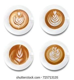 Top view of hot coffee latte art set isolated on white background.Collection