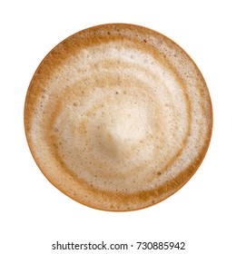 Top view of hot coffee latte cappuccino spiral foam isolated on white background, clipping path included