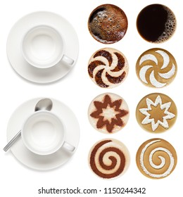 Top view of hot coffee set (espresso, cappuccino, latte),  isolated on the white background.