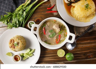top view Hot and Spicy Soup with Pork Ribs
