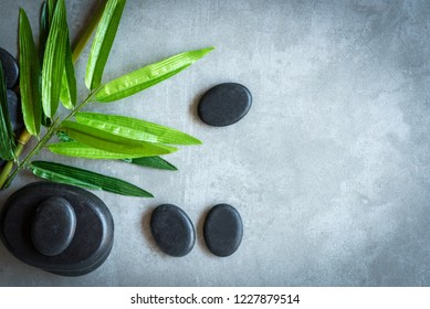 Top View. Hot Stone Thai spa and healthcare and massage treatments aroma relax, copy space. Healthy Concept