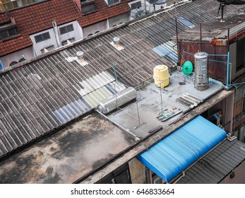 top view of house rusty roof of slum in Bangkok Thailand