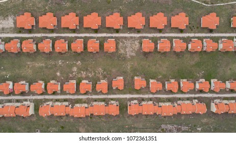 Top view of house village. Suburban houses. Bird eyes view of house and estate landmark of neighborhood