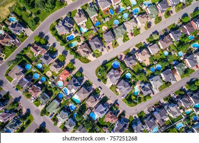 Top view of houses in typical residential neighborhood in Montreal, Quebec, Canada.