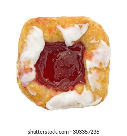 A top view of an iced raspberry danish on a white background.