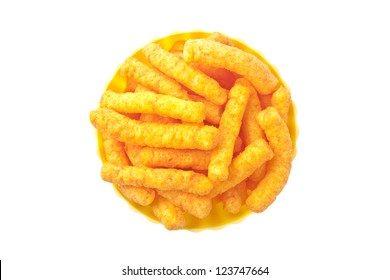 Top view image of cheese puffs in bowl against white background