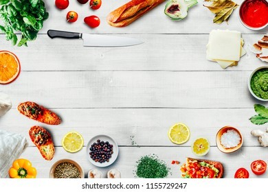 Top view image of fresh ingredients for a healthy meal
