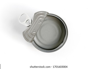 Top view image, Isolated empty canned good on white background. Cover lid is opened. Clipping path create in file. Round shape empty can.
