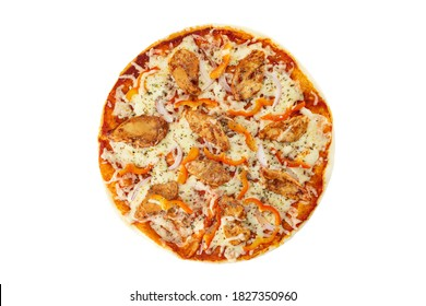 Top view image of italian pizza with cheese, chicken, paprika, onion and tomato isolated at white background.