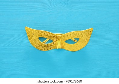 Top view image of masquerade venetian mask background. Flat lay. Purim celebration concept (jewish carnival holiday)
