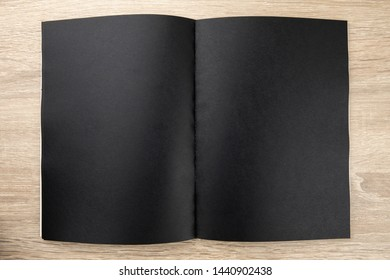 Top view image of open notebook with blank pages
