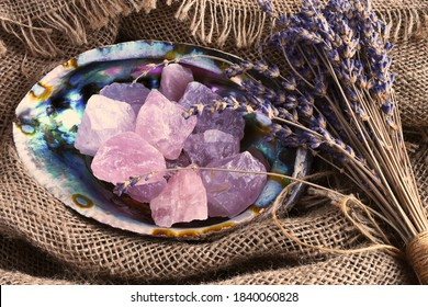 A top view image of rose quartz healing crystal in an abalone shell with dried lavender flowers.