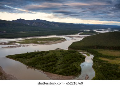 Top view of the Indigirka river. The Indigirka river, momskiy mountain ridge, Republic of Sakha, Russia.