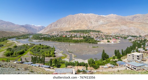 Top view of Indus river and Kargil City valley in Ladakh, Jammu and Kashmir, India. Big panorama