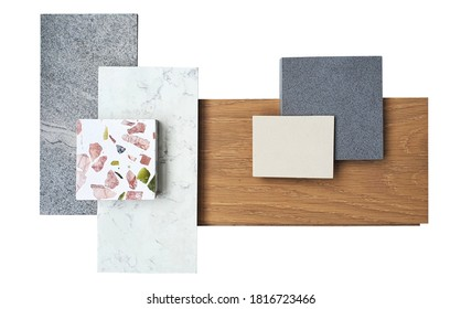top view of interior material board. combination of white marble ,grey slate stone ,terazzo stone ,grey and beige artificial stone ,engineer wood flooring samples isolated on white background. - Shutterstock ID 1816723466