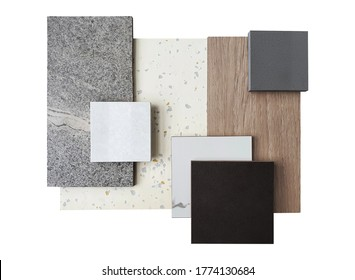 top view of interior material samples contains grey concrete tile ,black and white marble ,synthesis stone ,white terrazzo and wooden veneer isolated on white background with clipping path.