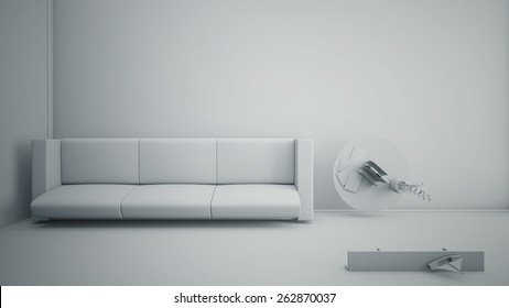 Top view of an interior rendering of a living room