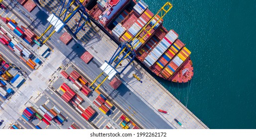 Top view of International Container  ship loading and unloading at sea port, Freight Transportation, Shipping, Nautical Vessel. Logistics, import export, oversea Transportation. - Shutterstock ID 1992262172