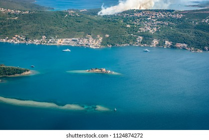 Top view of Island (Gospa Od Milo) Otok Monastery of the Jesuits Order and the Church of the Blessed Virgin Mary, Gulf of Tivat, Montenegro