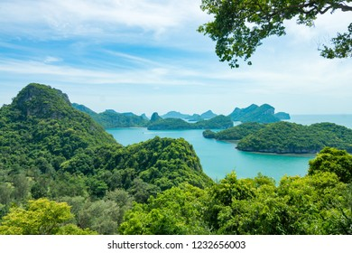 Top view of island nature, forest mountain. Mu Koh Angthong Nationnal Park, Koh Samui Thailand