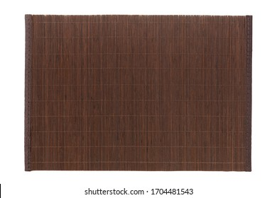 Top view of isolated brown placemat for food. Empty space for your design.
