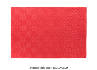 Top view of isolated red placemat for food. Empty space for your design.