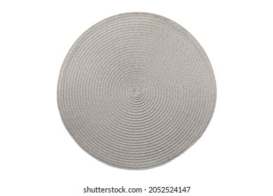 top view of isolated Round placemat for food. Close up of bamboo mat Empty space for your design.