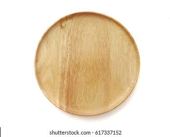 Top view of isolated round wooden plate on isolated white background