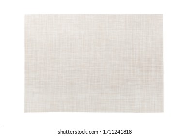 Top view of isolated white placemat for food. Empty space for your design.