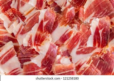 Top view of jabugo ham slices, closeup view