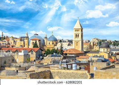 Top view of Jerusalem old city, christian quarter and the Church of the Holy Sepulchre.