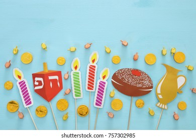 Top view of jewish holiday Hanukkah background
