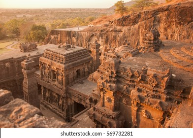 Top View of the Kailasanath Temple in Ellora Caves at sunset.