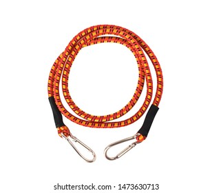 Top view of karabiner attached to red rope. Climbing and tourist equipment isolated on white
