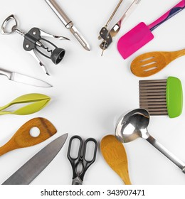 top view of kitchen utensils with blank space in the middle