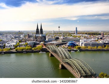 Top view of Koel. View on Cologne Cathedral and Hohenzollern Bridge in Koel, Germany. Tourism and travel by Germany