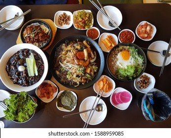 Top view of Korean food style dishes