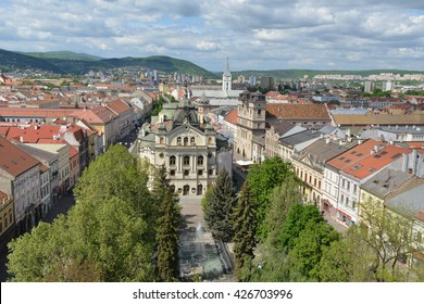 Top view of Kosice (Slovakia) from Saint Elisabeth Cathedral tower. Kosice theatre in the middle of composition.