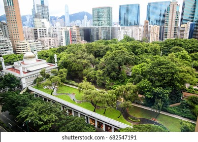 Top view Kowloon Park in Hong Kong