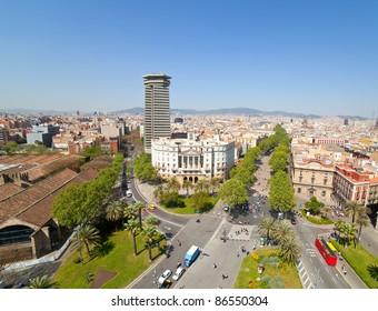 Top view of La Rambla. Barcelona, Spain