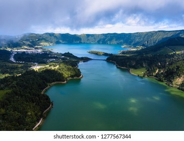 Top view of the Lagoa Verde and Lagoa Azul, lakes in Sete Cidades volcanic craters, San Miguel island, Azores, Portugal.