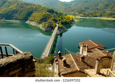 Top view of the lake from Castel di Tora, near Rieti, Italy. It is an artificial lake with the dam for the production of electricity.