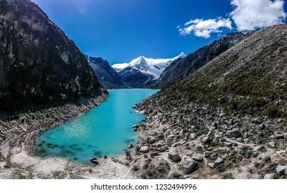 Top view of Lake Paron and Pyramid mountain in Caraz Peru